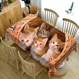 Cute Kittens in the Bamboo Basket Thicken Cotton Tablecloth