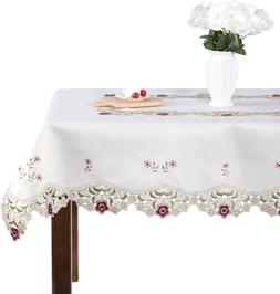 JH tablecloths Damask rose red little plum embroidered beige