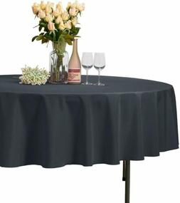 VEEYOO Dark Grey 90'' Round Tablecloth Polyester Wrinkle Fre