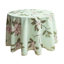 Weiwo Decorative Floral Print Polyester Round Tablecloth Wat