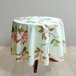 Decorative Floral Print Polyester Round Tablecloth Waterproo