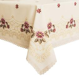 Decorative Red Floral Print Lace Water Resistant Tablecloth