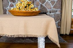 "Deluxe Burlap Natural Tan Table Cloth - 60x80"" Tablecloth"