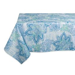 """DII Blue Watercolor Paisley Print Outdoor Tablecloth-60x84"""""""