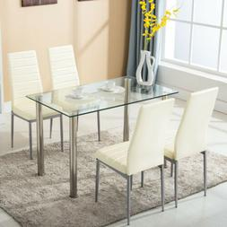 5 Piece Dining Table Set with 4 Chairs Glass Metal Kitchen D