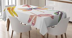 Ambesonne Dragonfly Tablecloth, Five Spiritual Bugs in Moder
