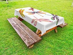 Ambesonne Dragonfly Outdoor Tablecloth, Five Spiritual Bugs