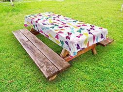 Ambesonne Dragonfly Outdoor Tablecloth, Kids Nursery Childho