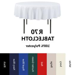 E-TEX 70-Inch Round 100% Polyester Tablecloth for Circular T