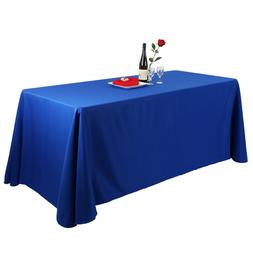 E-TEX 90x156Inch Oblong Royal Blue Polyester Tablecloth for