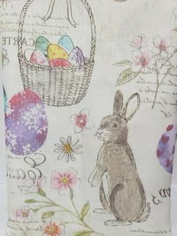 EASTER BUNNY RABBIT EGGS BIRDS PASTEL FABRIC TABLE CLOTH 52""