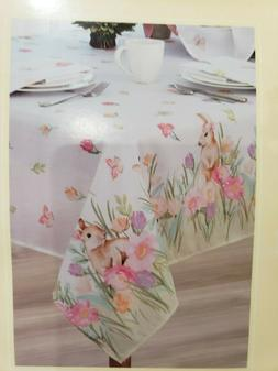 "EASTER BUNNY RABBIT FLORAL FABRIC TABLE CLOTH ALL 52"" X 70"","
