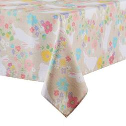 Celebrate Easter Bunny Spring Floral Print Fabric Tablecloth