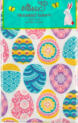 Easter Egg Vinyl Tablecloth: Colorful Decorated Eggs with a