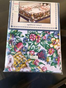 EASTER Greetings NOS TABLECLOTH OBLONG 60 X 102 EGGS BASKET