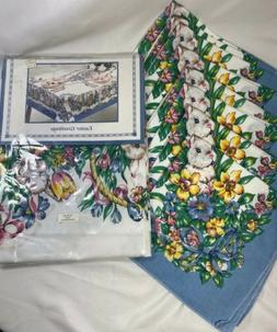 "Easter Greetings Round 60"" Tablecloth, 8 Cloth Napkins Eas"