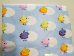 EASTER TABLE CLOTH 52X70 OBLONG BLUE WITH HATCHING CHICKS