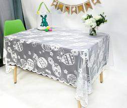 "Easter Table Cloth 60 x104 "" Easter Bunny Eggs Tablecloth Ea"