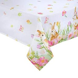 Easter Tablecloth Bunny Playing and Tulip Print Easy-Care Fa
