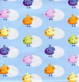 Easter Tablecloth Chicks Blue Vinyl Flannel Back 60 x 84 Tab