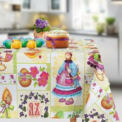 "Easter Tablecloth Rectangular 71x57"" Table Cloth w/ Bunny Eg"