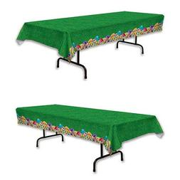 Easter Tablecloth - Green Table Covering with Colorful Egg B