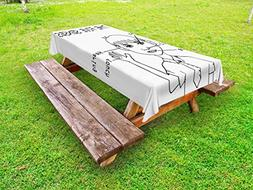 Ambesonne Educational Outdoor Tablecloth, Five Senses Shown