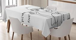 Ambesonne Educational Tablecloth, Five Senses Shown on Littl