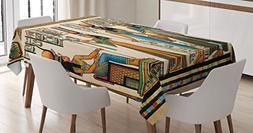Ambesonne Egyptian Decor Tablecloth, Egyptian Papyrus Depict