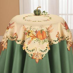 Embroidered Fall Pumpkin Harvest Thanksgiving Polyester Squa
