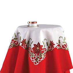 Collections Etc Embroidered Christmas Poinsettia Table Linen