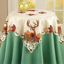 Embroidered Deer Fall Harvest Thanksgiving Polyester Square