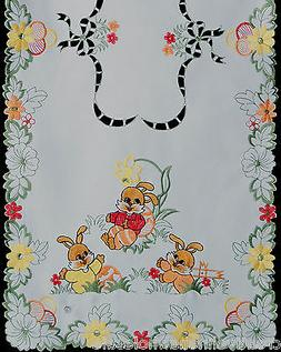 Embroidered Easter Bunny Egg Floral Placemat Table Cloth Run