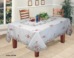 Creative Linens Embroidered Pink Rose Daisy Floral Tableclot