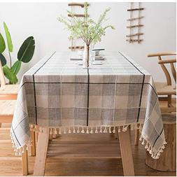 ColorBird Embroidery Checkered Tassel Tablecloth Heavy Weigh