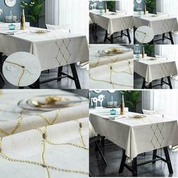 Bringsine Embroidery Geometric Pattern Spill-Proof Table Clo