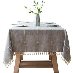 VIMOO Embroidery Lattice Tassel Tablecloth Cotton Linen Chec