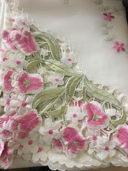 "Embroidery Pink Flowers Table cloth 72"" X 90"""