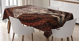 Ethnic Tablecloth by Ambesonne, Oriental Elephant Head in Ma