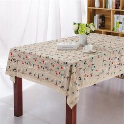 European small iron tower cotton and linen printing Tableclo