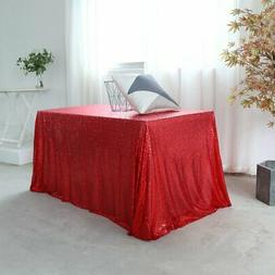 "GFCC Event Sequin Table Cloth Red 60""x126"" Sparkly Table Cov"