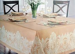 Waterford Linens Fabric Beige Tablecloth with Jacquard Tan F