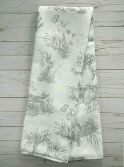 Fabric Tablecloth 60x102 Bunny Toile Spring Flowers Easter E
