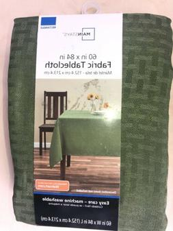 "Mainstays Fabric Tablecloth, Green, 60"" x 84"" - NEW"