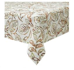 Fall Rectangle Tablecloth 60 x 84 Painted Leaves Woven Table