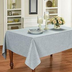 faux linen rectangle table cloth washable spillproof