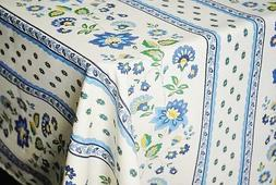 LE CLUNY, FAYENCE BLUE FRENCH PROVENCE COATED COTTON TABLECL