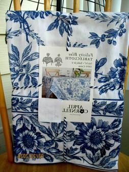 APRIL CORNELL FELICITY BLUE WHITE FLORAL TABLECLOTH SQUARE 5