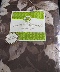 "Bountiful Harvest Flannel Back Vinyl Tablecloth ""Brown Leave"