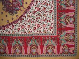 Floral Peacock Cotton Tablecloth 88 x 60 Red